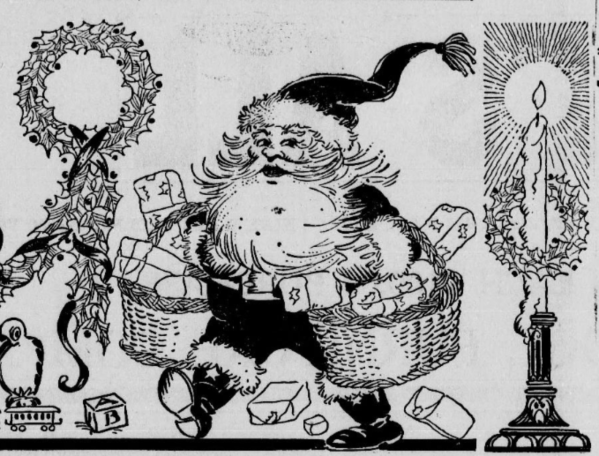 Santa Delivering Presents Sketch 1919