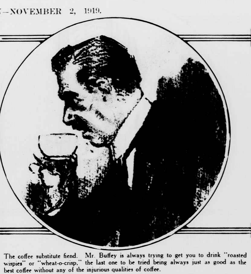 Man drinking coffee 1919