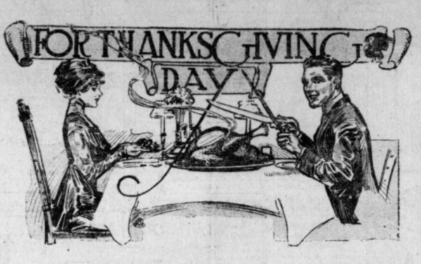 Man and woman carving Turkey 1911