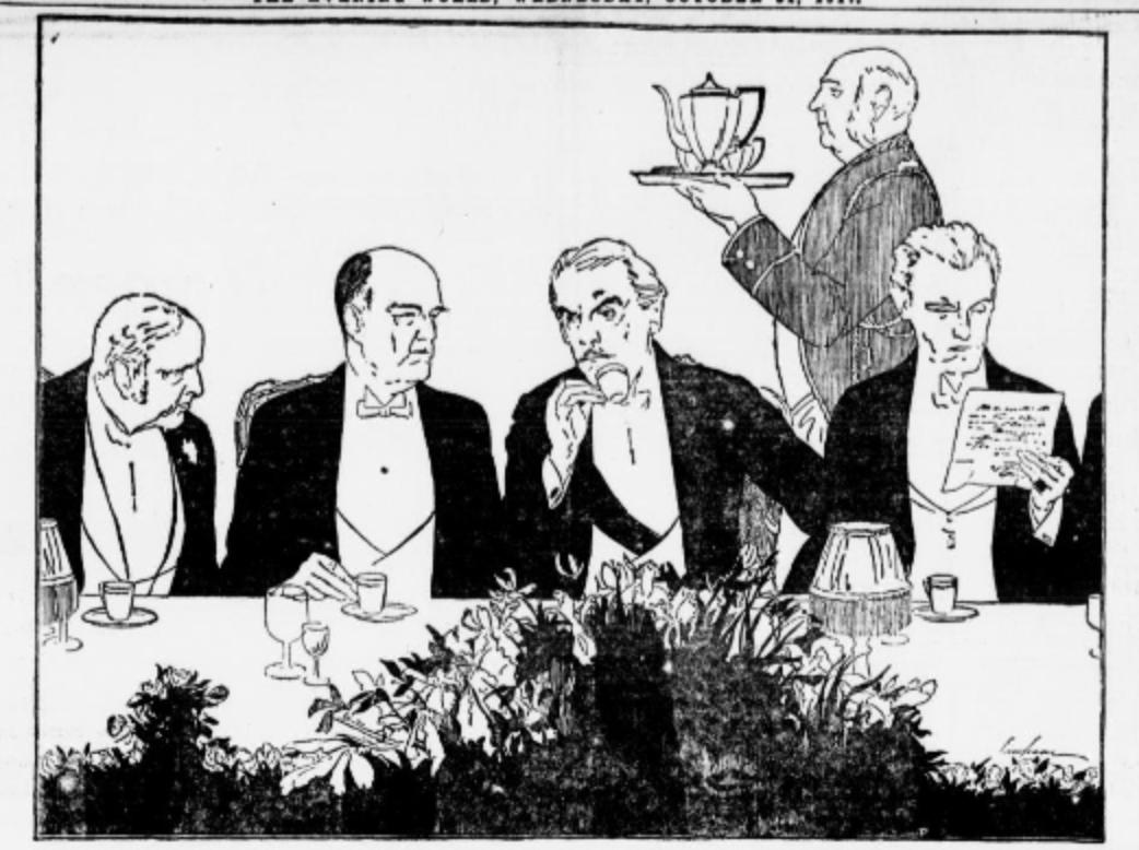 Butler serving men in tuxedos