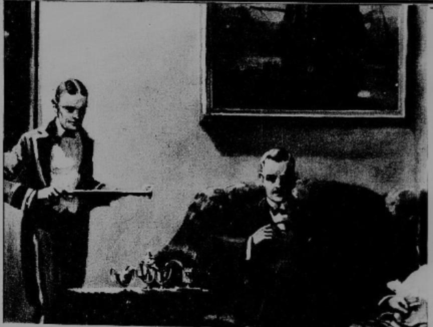 Butler in living room serving coffee Yuban Advertisement 1920