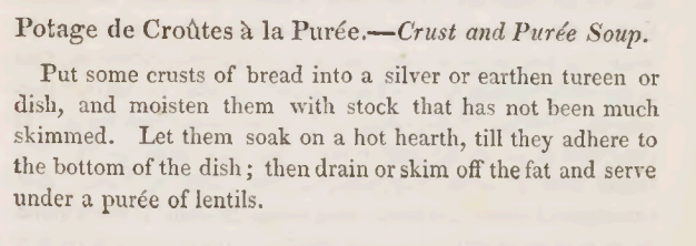 Crust and Lentil Puree Soup Recipe 1825