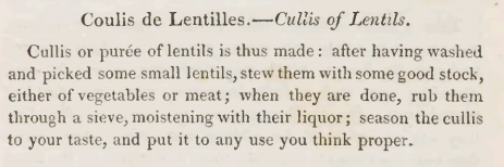 Cullis of Lentils