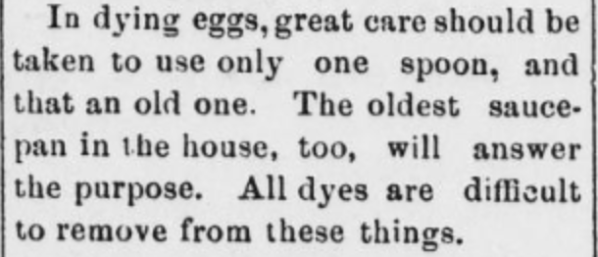 Directions for dying eggs
