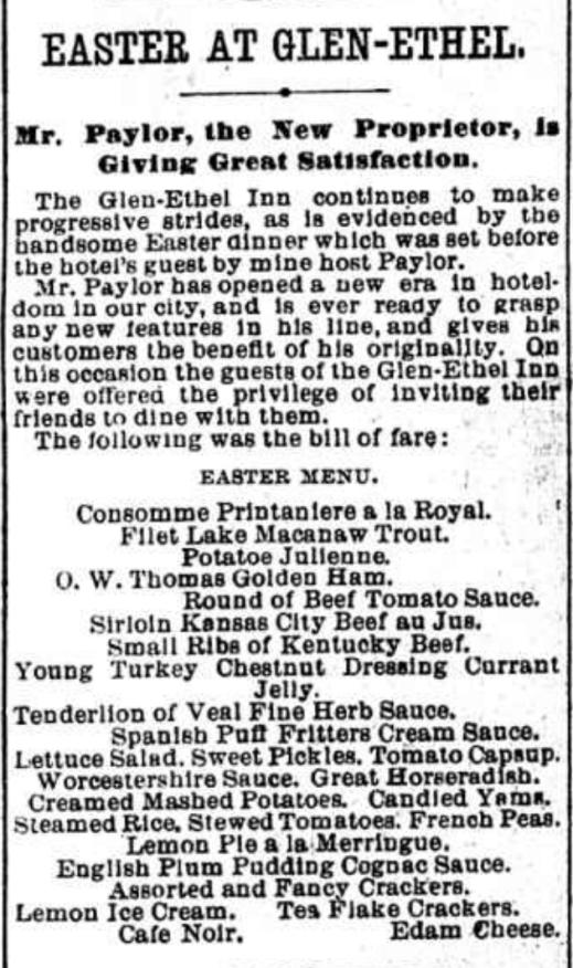 Easter Menu 1900