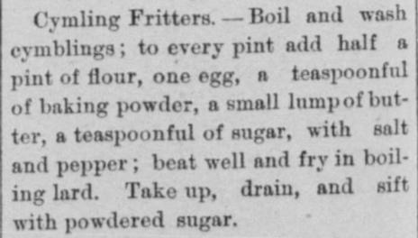 Cymling Fritter Recipe 1893