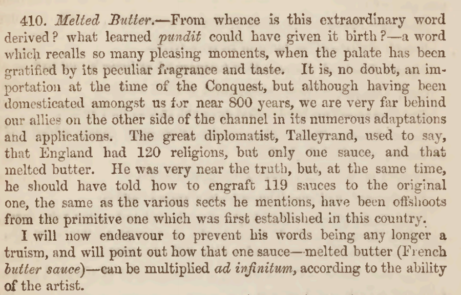 Melted Butter Recipe 1855