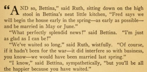 Reference to war in Bettina cookbook