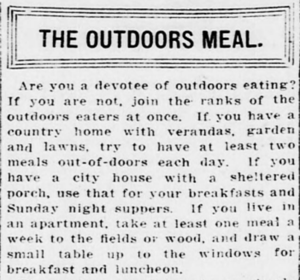 Outdoors Meals 1915