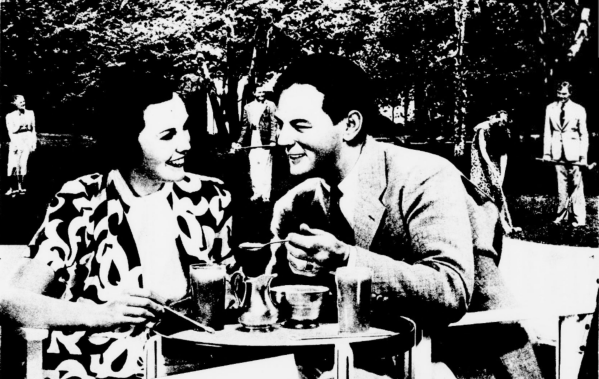 1930s couple enjoying iced coffee