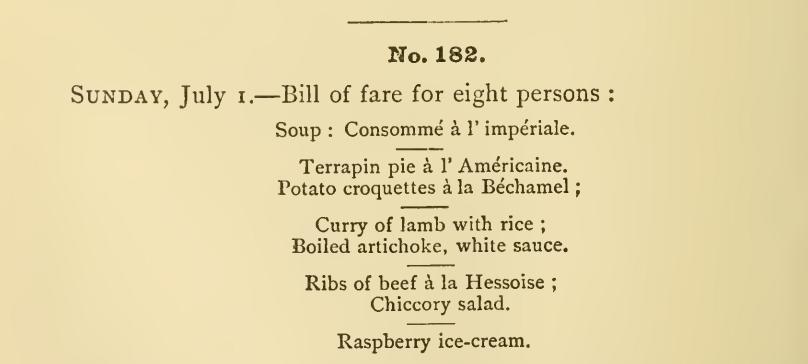 July Menu 1884