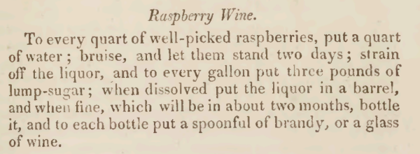 Raspberry Wine Recipe 1810