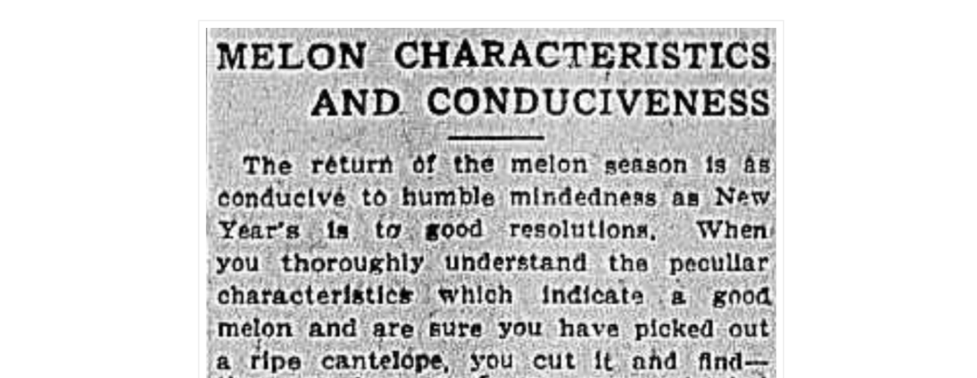 Melon Characteristics 1900s