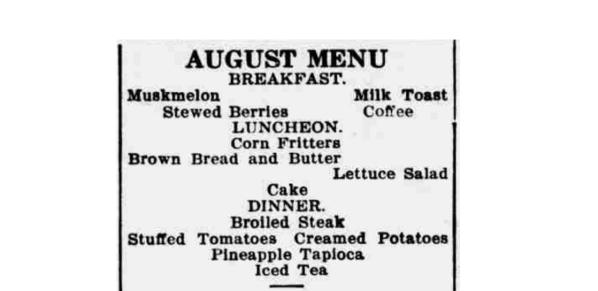 August Daily Menu 1914
