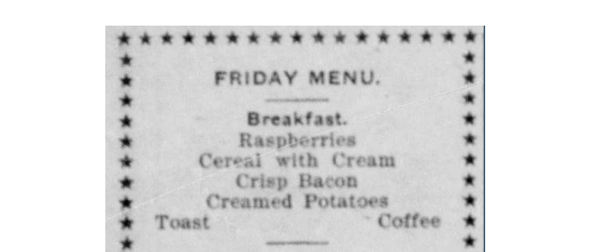 Friday Breakfast Menu 1910