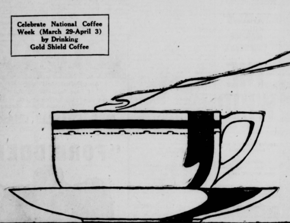 Cup of steaming coffee sketch 1920