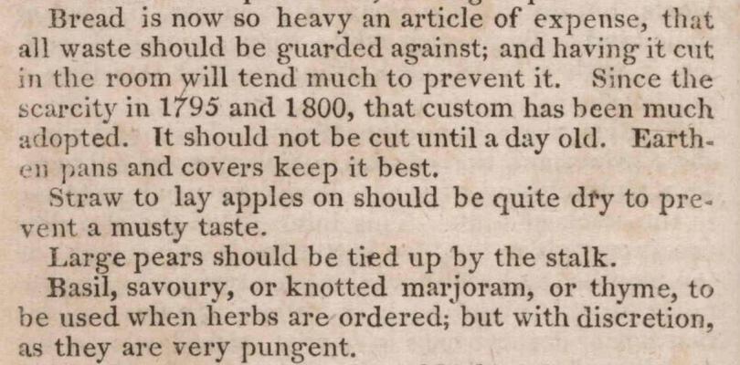 Keeping bread 1819