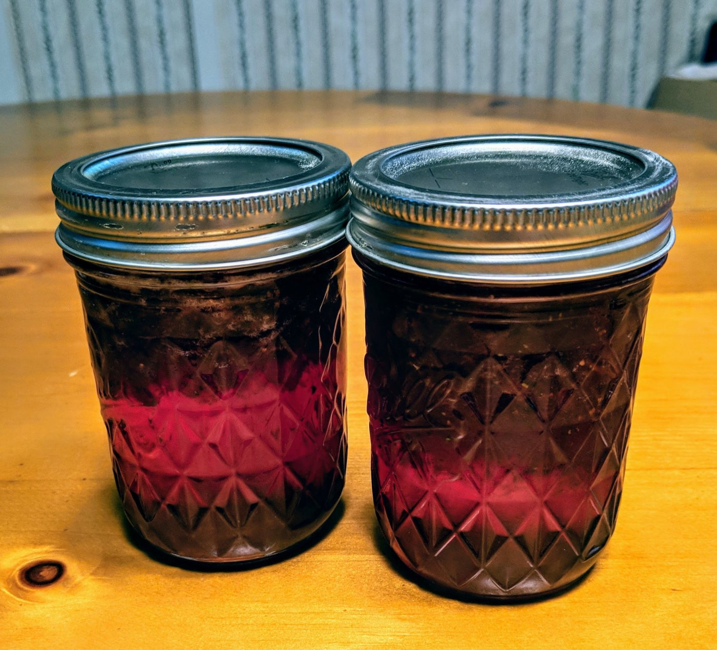 Two jars strawberry jam