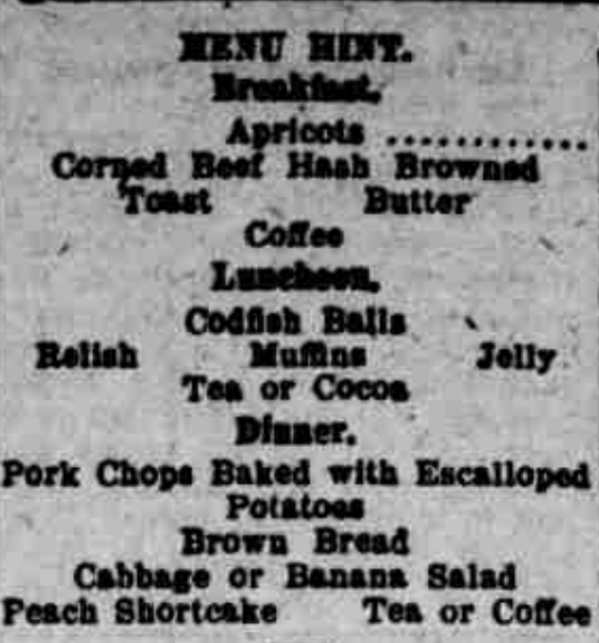 Friday Menu 1921
