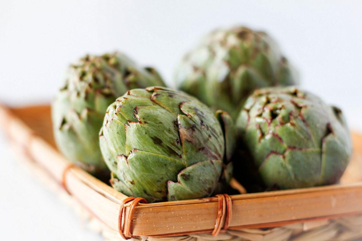 Four Raw Artichokes