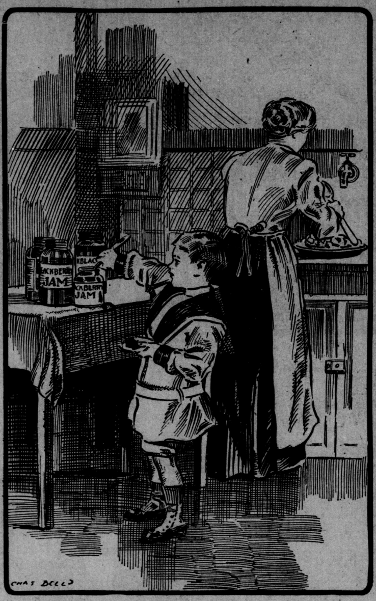 Boy in the kitchen with mom sketch 1900s