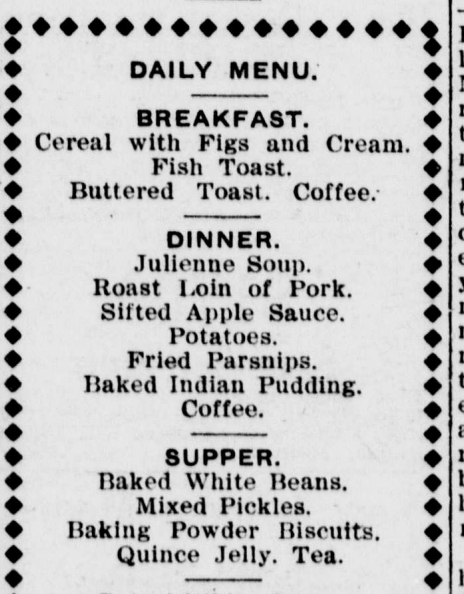 Daily Menu_1910_Breakfast_Dinner_Supper