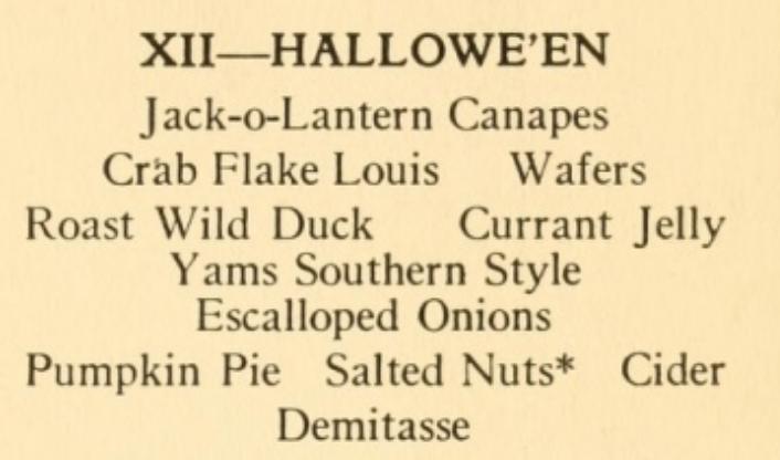 Halloween menu 1920s
