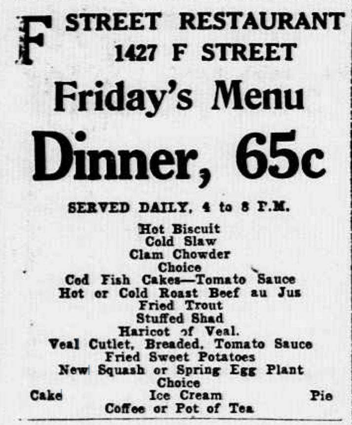 1920s Friday menu for F Street Restaurant