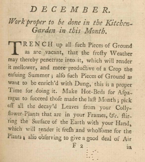 Kitchen Garden for December 1740s