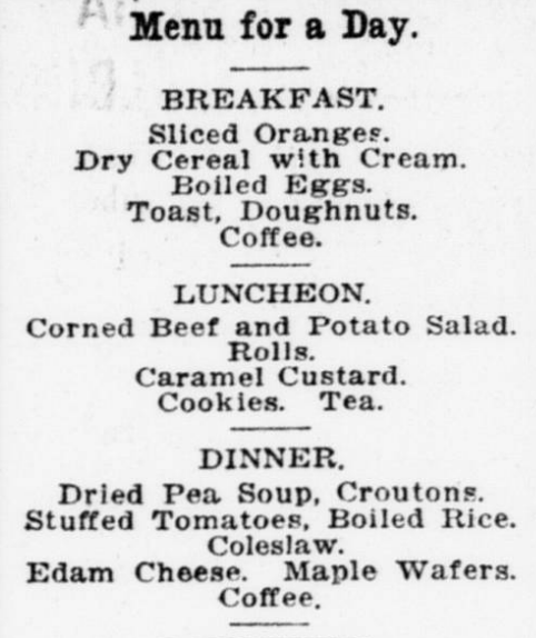 Breakfast Lunch and Dinner Menu 1920s