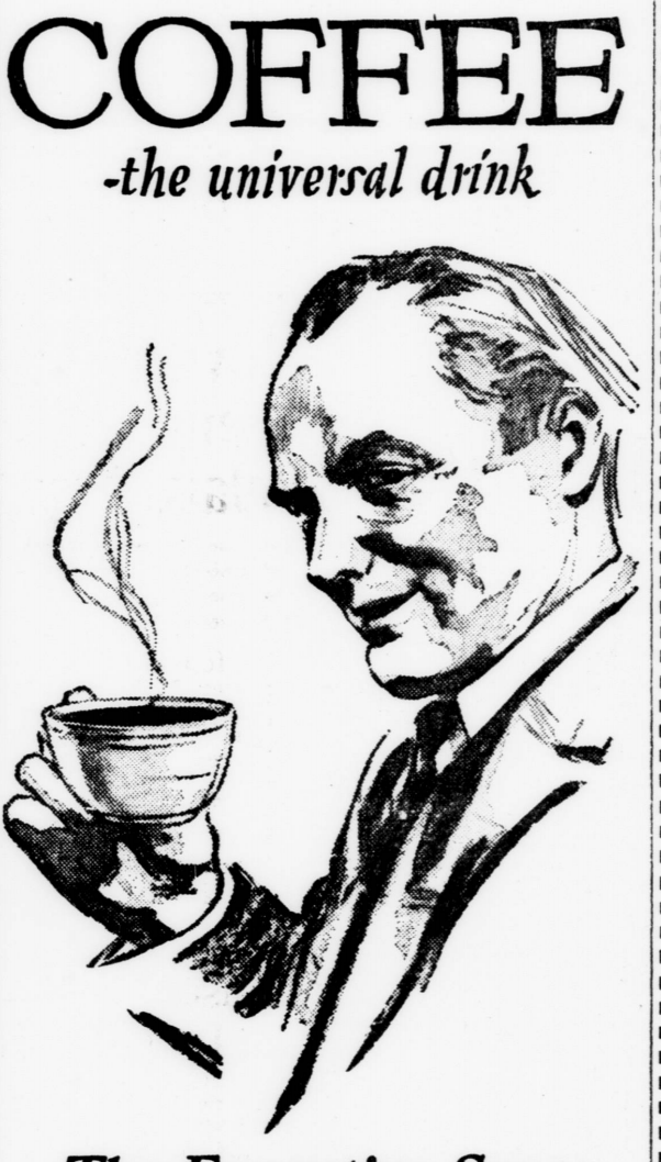 convivial supper recipes from the past Bollywood Party Food businessman drinking coffee sketch 1923