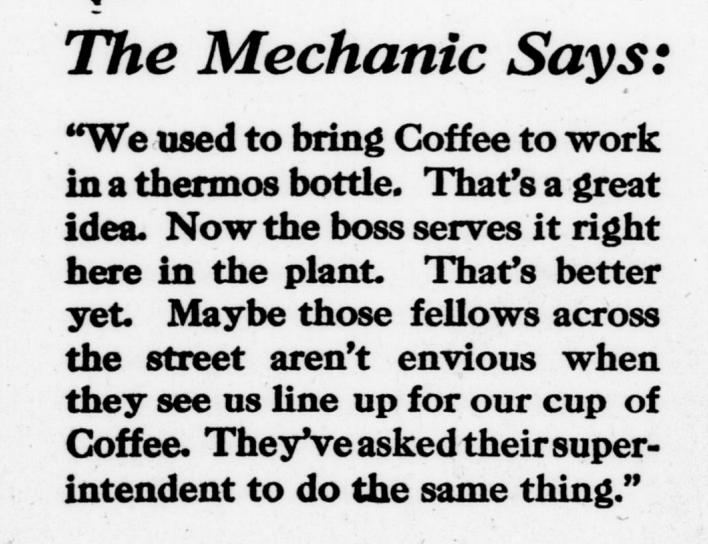 Mechanic-drinks-coffee-trade publicity advertisement