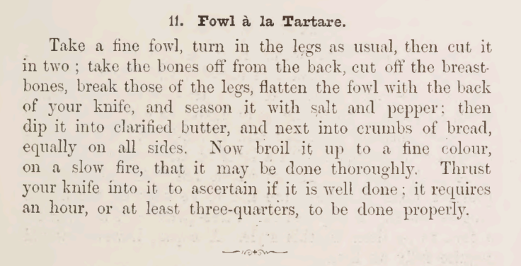 Fowl a la Tartare Recipe 1895