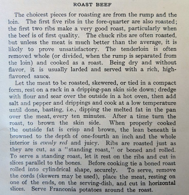 Roast Beef Recipe 1902