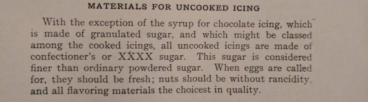 Simple Icing Ingredients 1900s