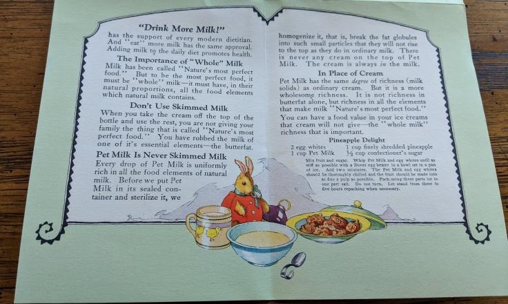 Pet Milk Leaflet Back Image
