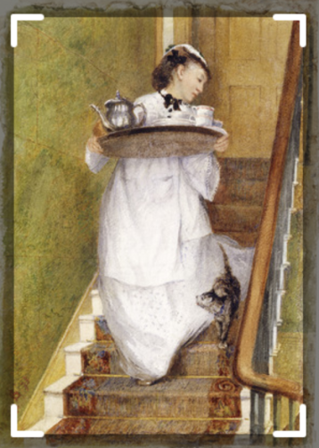 Maidservant carrying a breakfast tray 1873