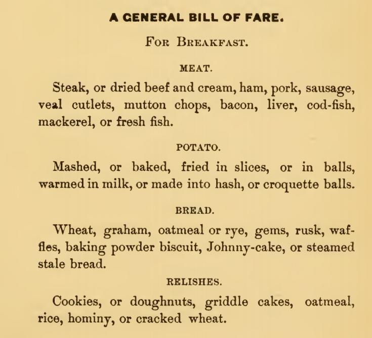 General Bill of Breakfast Fare Golden Mean Cookery