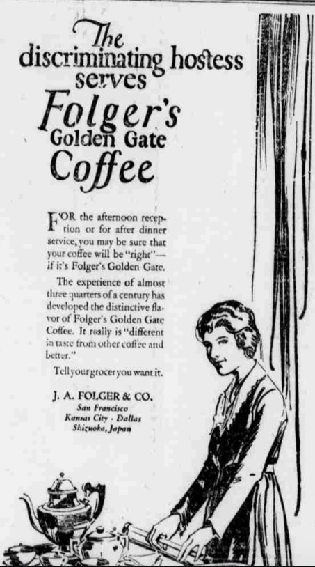Folgers-Advertisement-1922-Hostess
