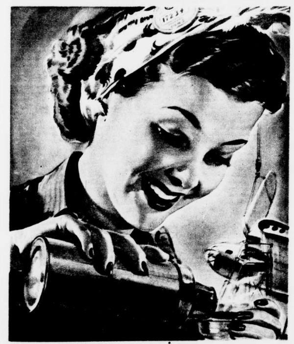 WWII Woman Factory Worker Drinking Coffee