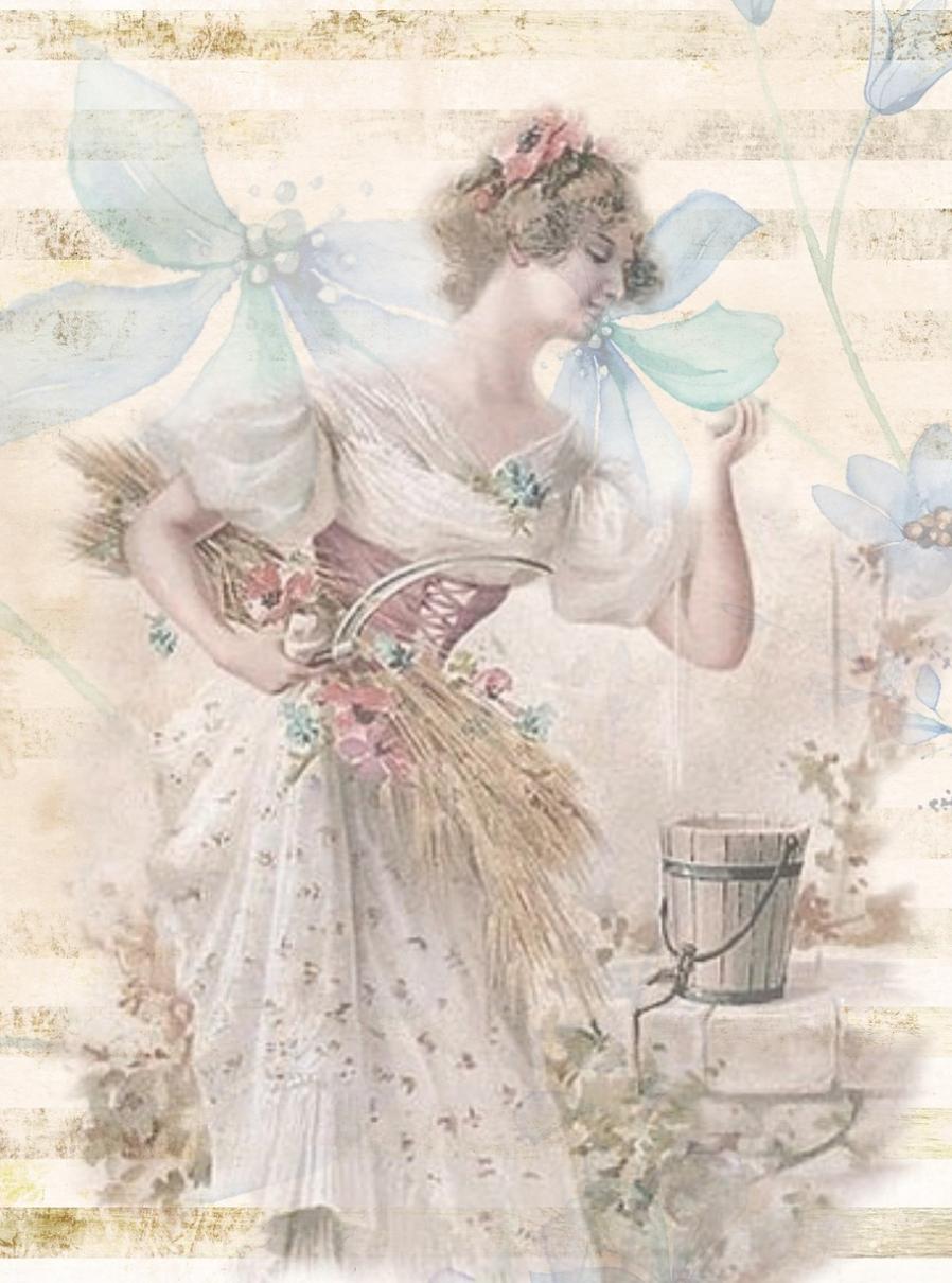 Victorian-Woman-Garden-Bucket