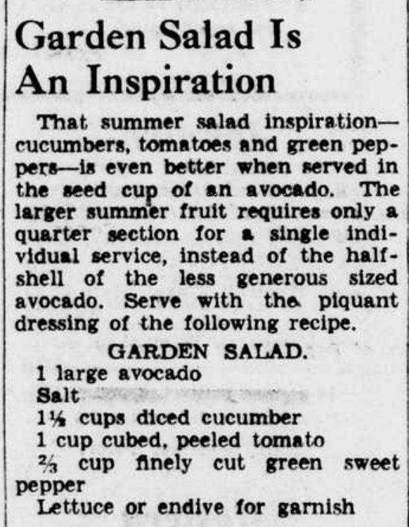 Avocado Salad Recipe 1942