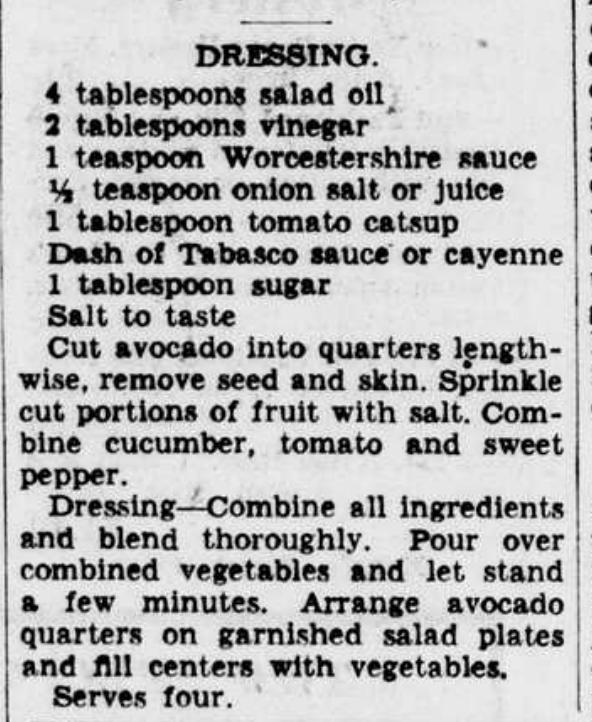 Garden Salad Dressing 1942