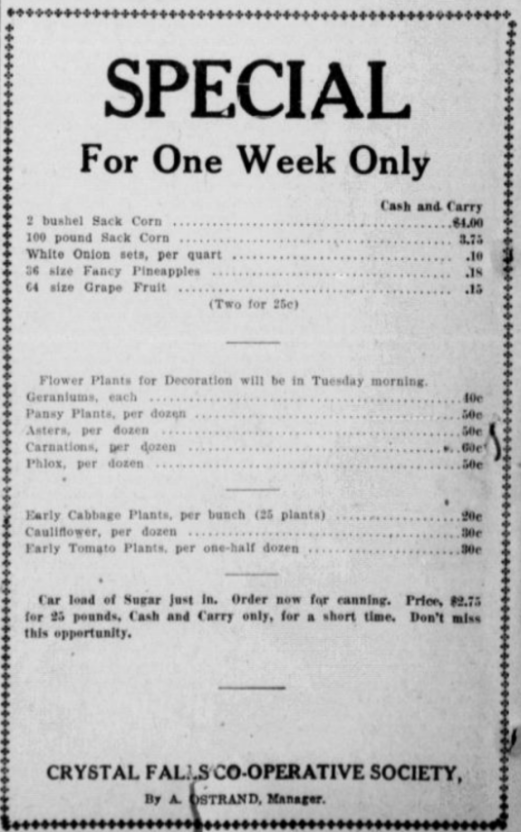 Grocery Prices 1919