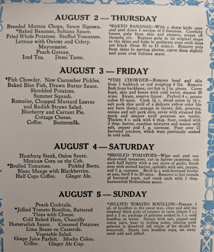 August Dinner Menu Ideas 1920s