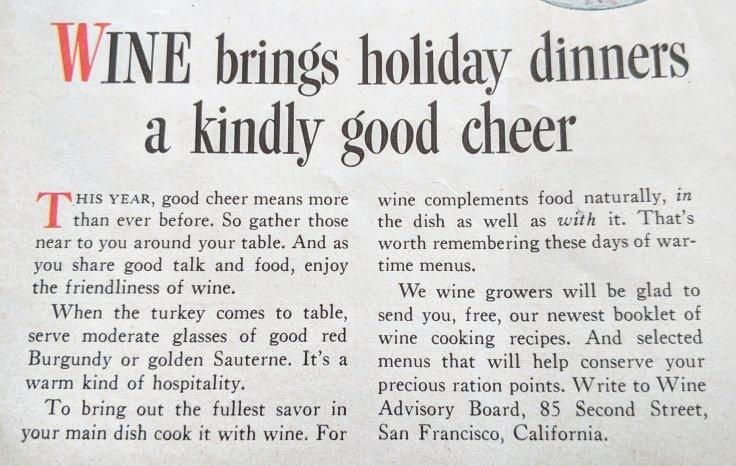 Wine Advisory Board 1943 Sunset Magazine