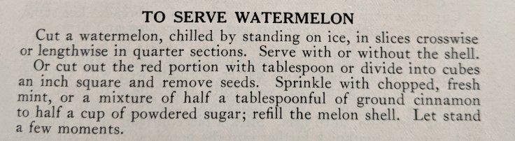 Serve Watermelon 1930 Recipe