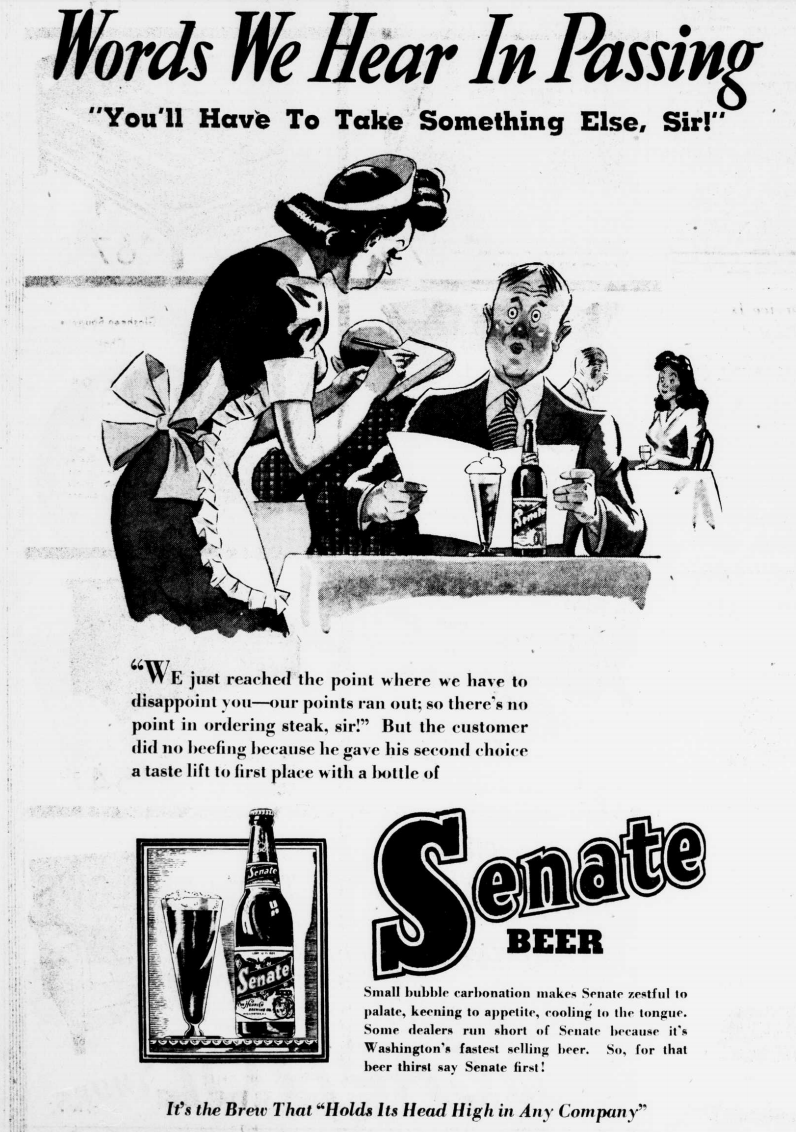Senate Beer Advertisement 1943