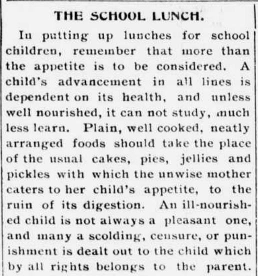 School Lunch 1900s
