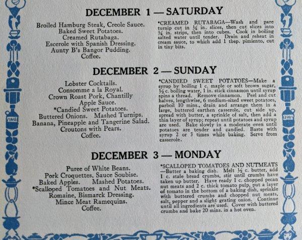 1920s-December Menu